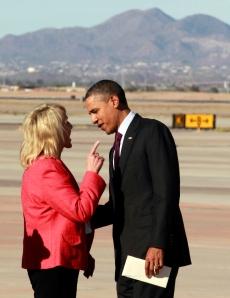 Jan Brewer gives President Obama the Finder... Sort of.