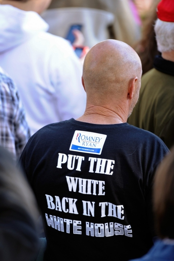 """Put the White Back in the White House"" T-Shirt at Romney / Ryan Rally."