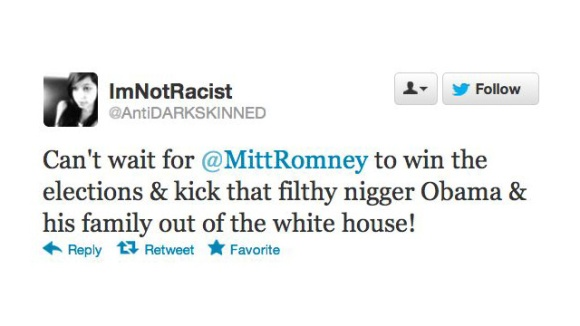 Racist Tweets in Response to President Obama's Re-election
